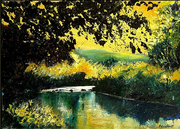River Painting - River Houille  by Pol Ledent