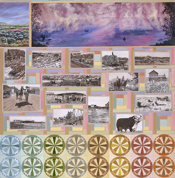 Western Painting - River Mural Summer Panel Bottom Half by Dawn Senior-Trask
