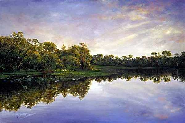 Florida Painting - River Twlight by Keith Martin Johns