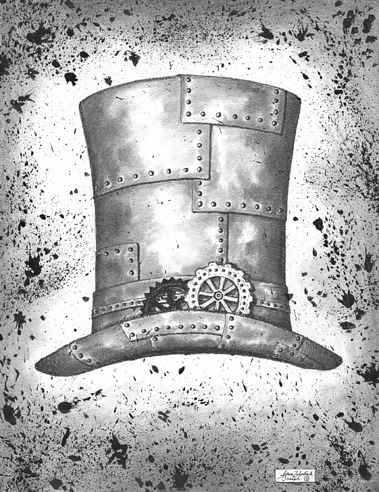 Ink Drawing - Riveting Top Hat by Adam Zebediah Joseph