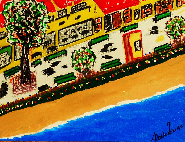 Boardwalk Mixed Media - Riviera Beach Cafe by Adolfo hector Penas alvarado
