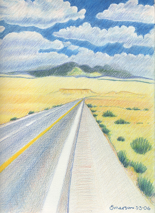 Road Near Four Corners Drawing by Harriet Emerson