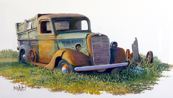 Old Truck Painting - Road Warrior Retired by Bob  Adams