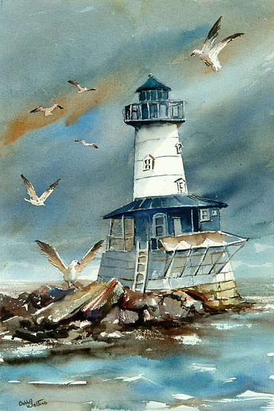 Lighthouse Painting - Robbins Reef by Bobby Walters
