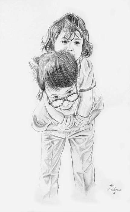 People Drawing - Robert Carrying Melody by Tito Santiago