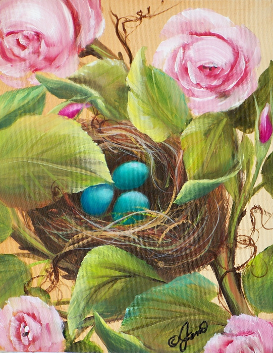 Floral Painting - Robins Nest by Joni McPherson