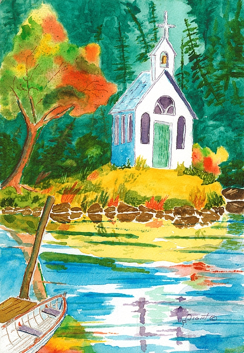Chapel Painting - Roche Harbor Chapel by Buster Dight