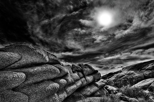Landscape Photograph - Rock Ledge With Swirling Sky by Gary Zuercher