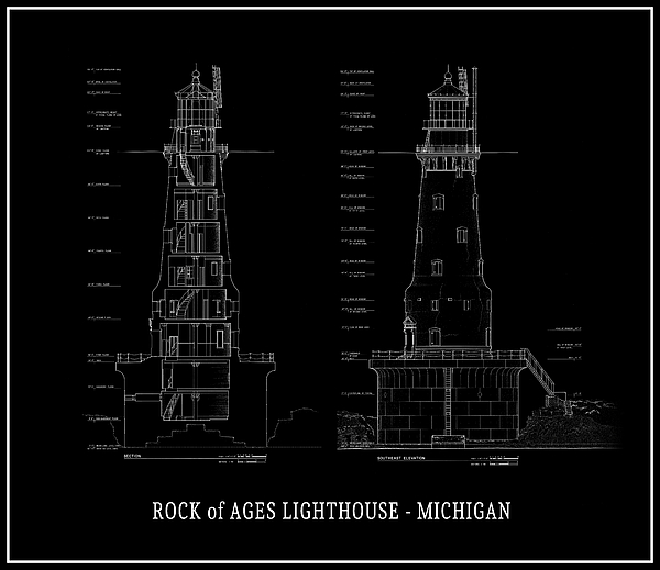 Rock of ages lighthouse blueprint michigan digital art by daniel michigan digital art rock of ages lighthouse blueprint michigan by daniel hagerman malvernweather Image collections