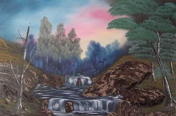Waterfall Painting - Rock River  by Sheldon Kiroff