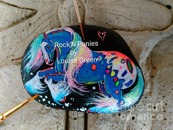Blue Horse Mixed Media - Rocknponies - Storm Dancer Cob by Louise Green