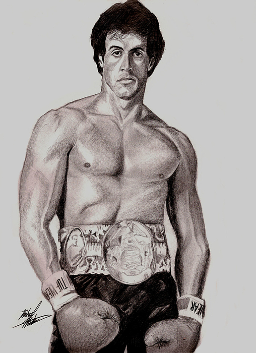 Rocky Drawing - Rocky 3 by Michael Mestas