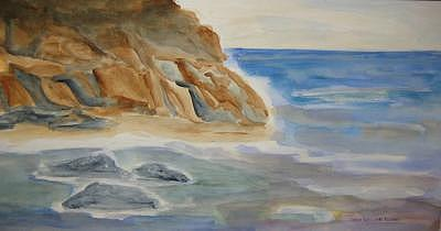 Rocky Shore Painting by Joan Wallace Reeves