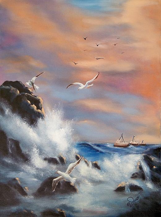 Coast Painting - Rocky Shore by Joni McPherson