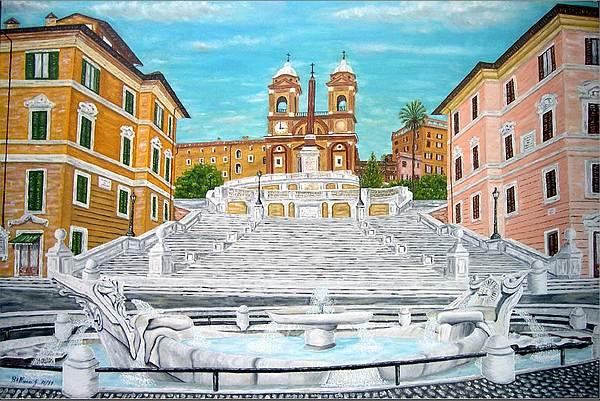 Roma piazza di spagna 13 1999 painting by bellucci giuseppe for Di giuseppe arredamenti roma