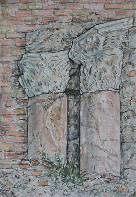 Roman Painting - Roman Columns Taormina by Richard Bulman