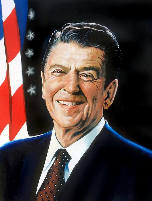 Ronald Reagan Portrait Painting by Robert Korhonen