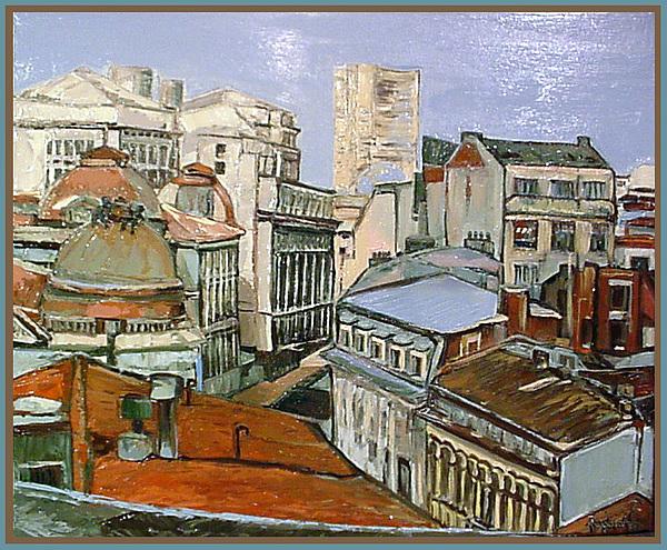 Roofs Bucarest Painting by Luminita Feodoroff