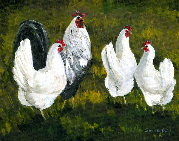 Rooster Painting - Rooster And Hens by Charlotte Yealey