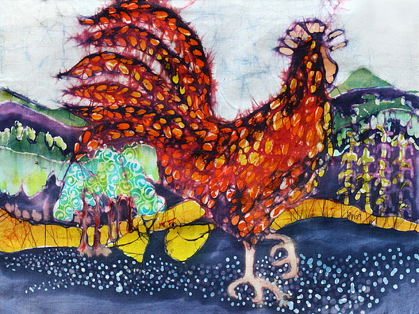 Farm Tapestry - Textile - Rooster In The Morning by Carol  Law Conklin
