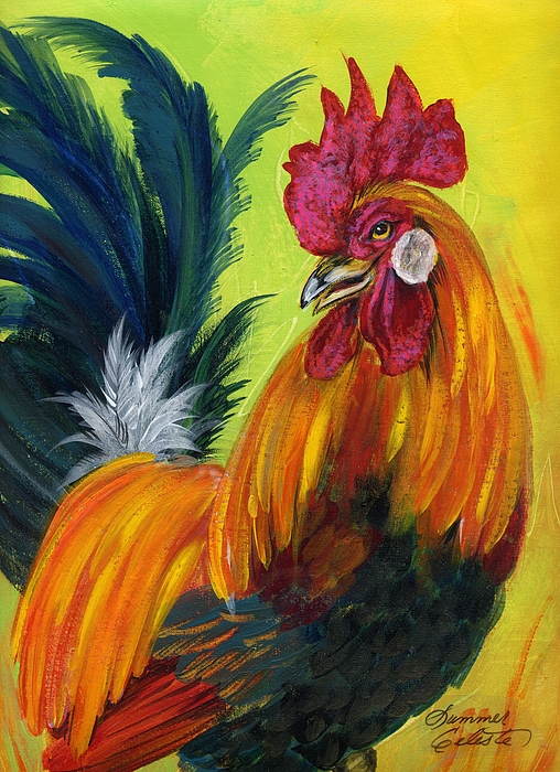 Rooster Painting - Rooster Kary by Summer Celeste