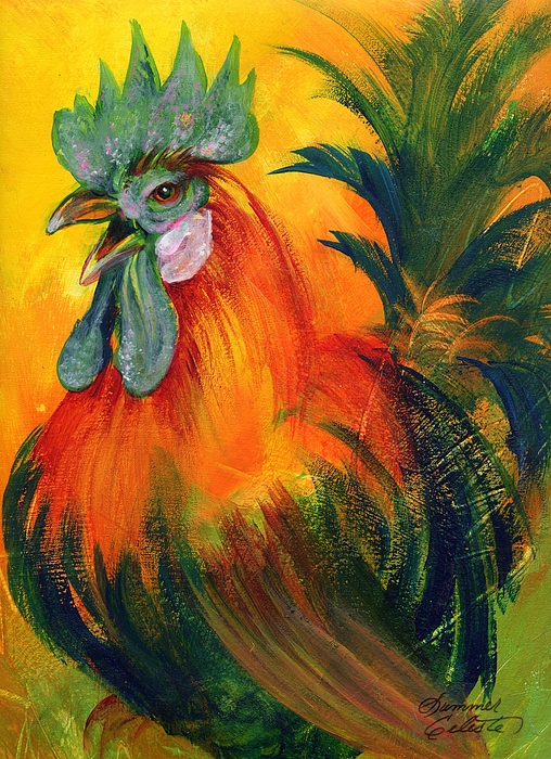 Rooster Painting - Rooster Of Another Color by Summer Celeste