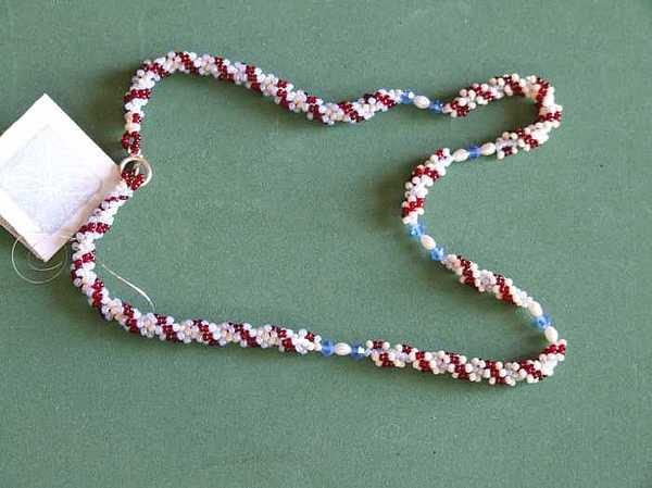 Woven Jewelry - Rope Weave With Swarovski And Seed Pearls by Susan Anderson