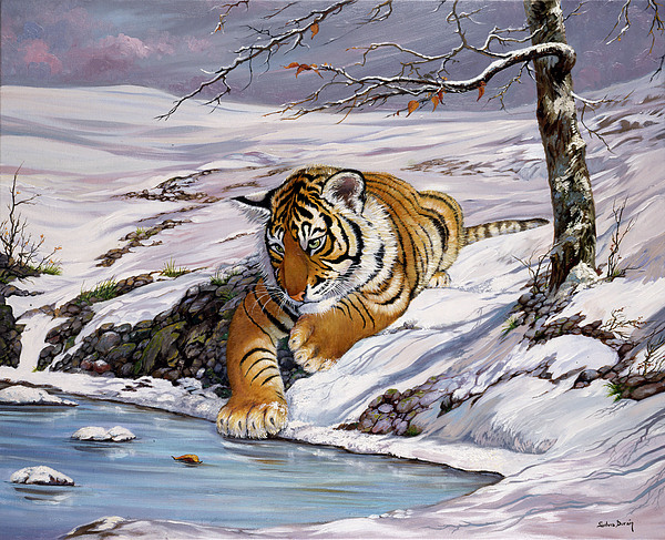 Siberian Tiger Cub Painting - Roque Playing In The Ice Pond by Silvia  Duran