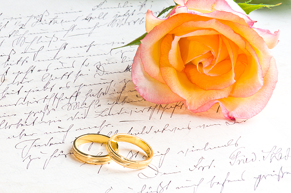 Alliance Photograph - Rose And Two Rings Over Handwritten Letter by U Schade