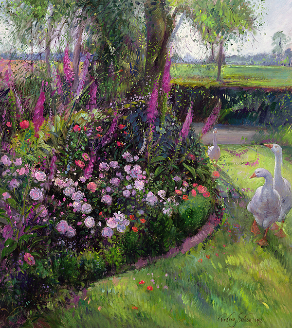 Landscape; Poultry; Foxglove; Country Garden;rural; Goose; Geese; Flower; Flowers; Garden; Tree; Trees Painting - Rose Bed And Geese by Timothy Easton