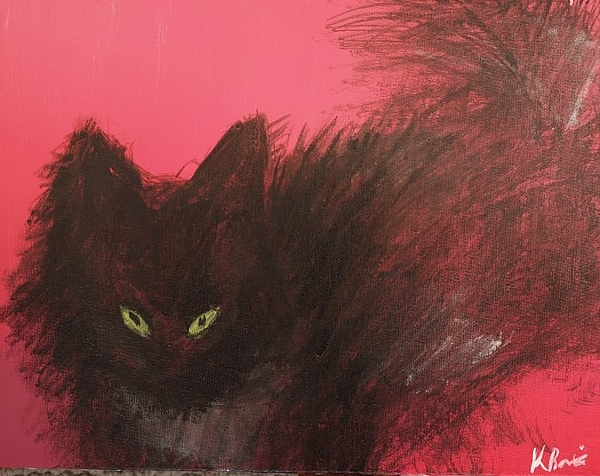 Cat Painting - Rose-colored Glasses by Kathryn Bartizek