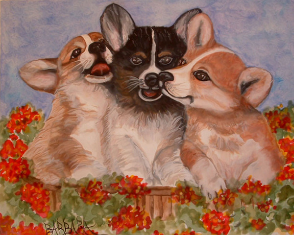 Dogs Painting - Rose Hyacinth And Daisy by Barbara Oberholtzer