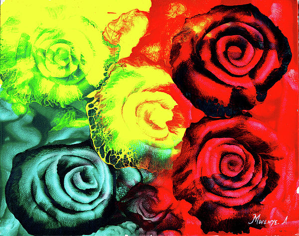Painting Painting - Roses by Abu Artist