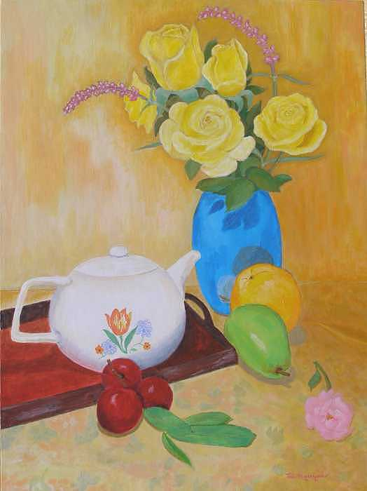 Still Life Painting - Roses And Fruits No 4 by Thi Nguyen