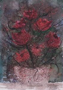 Watercolor Painting - Roses At Night Gothic Surreal Modern Painting Poster Print by Derek Mccrea