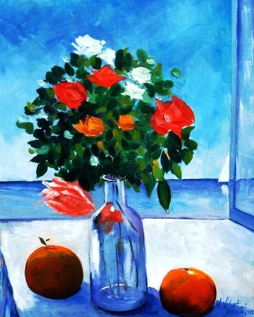 Fruit Painting - Roses Bottle And Peaches by Sandro Sabatini