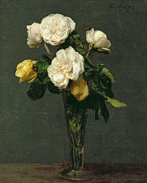 Roses Painting - Roses In A Champagne Flute by Ignace Henri Jean Fantin-Latour
