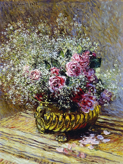 Roses In A Copper Vase Painting - Roses In A Copper Vase by Claude Monet