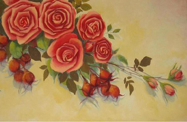 Roses  Painting by Naila Saeyed