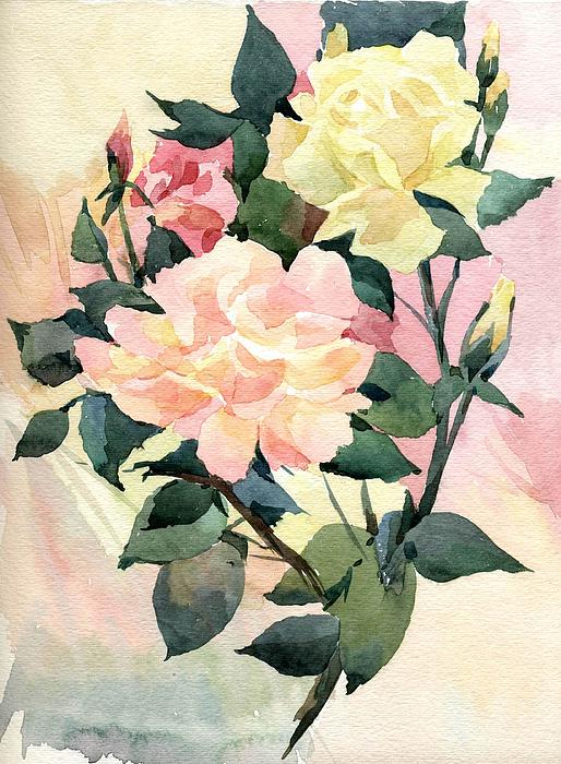 Watercolor Painting - Roses by Natalia Eremeyeva Duarte