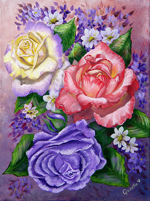 Rose Painting - Roses by Quwatha Valentine