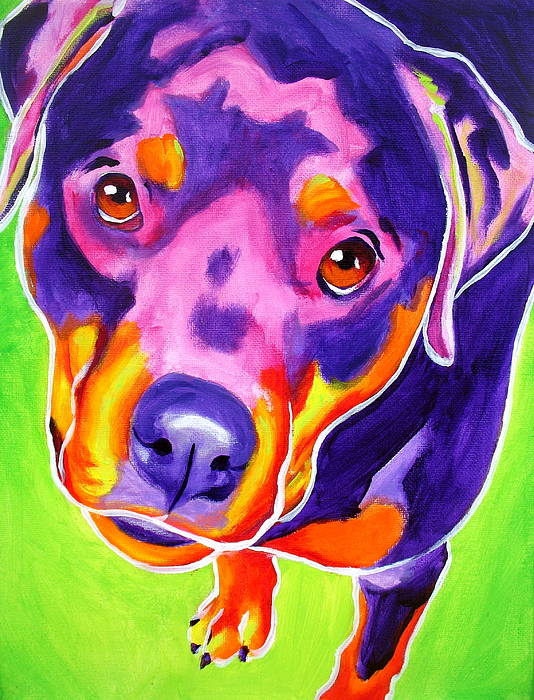 Pet Painting - Rottweiler - Summer Puppy Love by Alicia VanNoy Call