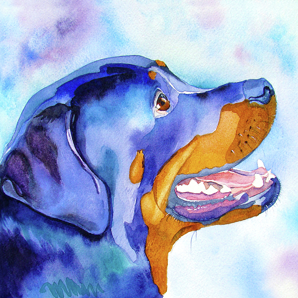 Rottweiler Painting - Rotty Rottweiler Blues by Jo Lynch