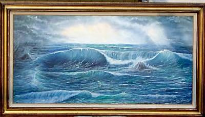 Rouigh Seas Painting by Larry Spradling