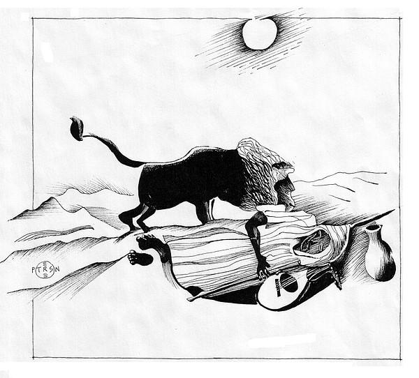 Sleeping Drawing - Rousseau Sleeping Gypsy by Gary Peterson