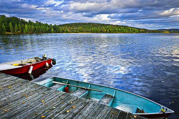 Rowboats Photograph - Rowboats On Lake At Dusk by Elena Elisseeva