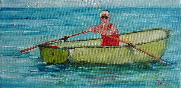 Boat Painting - Rowing Away by Irit Bourla