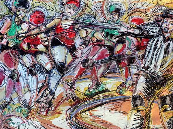 Roller Derby Mixed Media - Rubber City Roller Girls by Terry Brown