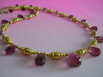Designer Necklace Jewelry - Rubellite Briolette Choker by Mia Katrin