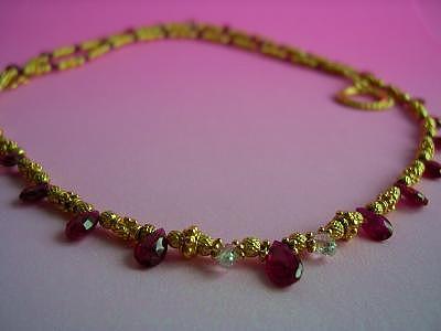 Designer Choker Jewelry - Ruby And Diamond Briolette Necklace by Mia Katrin